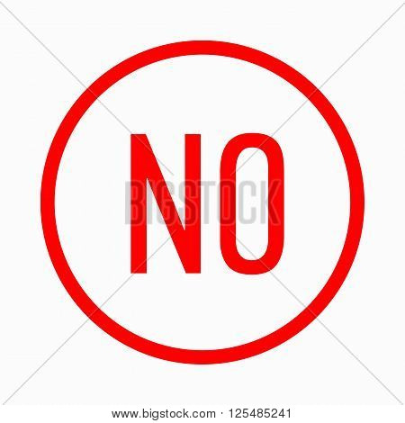 No in circle icon in simple style on a white background