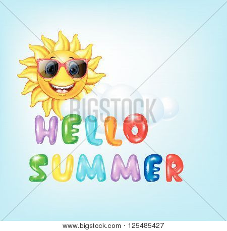 Vector illustration of Summer background with cartoon sun character