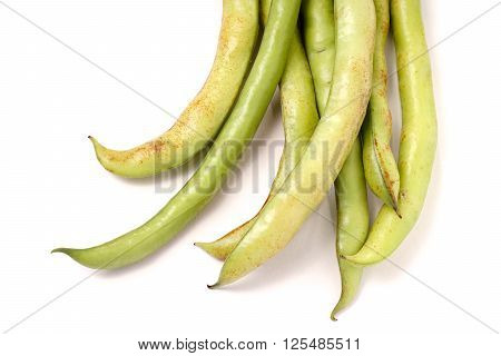 Organic Broad Beans in pod isolated on white background