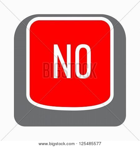 No red button icon in simple style on a white background