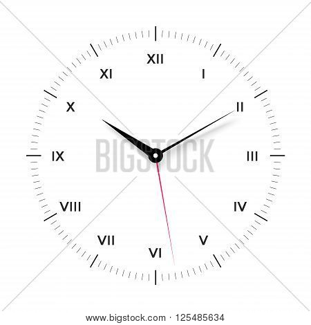 White clock face for with black and red pointer and roman numerals on white background. Vector Illustration