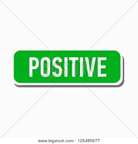 Positive green button icon in simple style on a white background