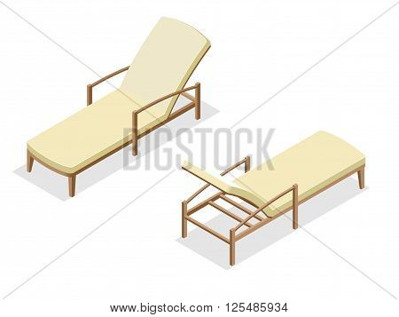 Beach chairs isolated on blue background. Wooden beach chaise lounge Flat 3d isometric vector illustration