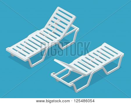 Beach chairs isolated on white background. Plastic beach chaise lounge Flat 3d isometric illustration