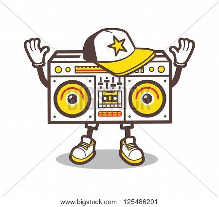 Cartoon boom box character design for tee. Isolated ghetto blaster comic style t-shirt print. Swag tape player in baseball cap and sneakers cartoon character for apparel design. Vector illustration