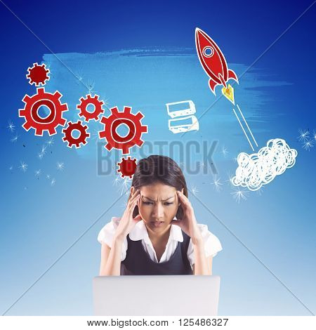 Nervous businesswoman using a laptop against digitally generated dandelion seeds against blue sky