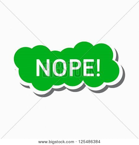 Nope in a green cloud icon in simple style on a white background