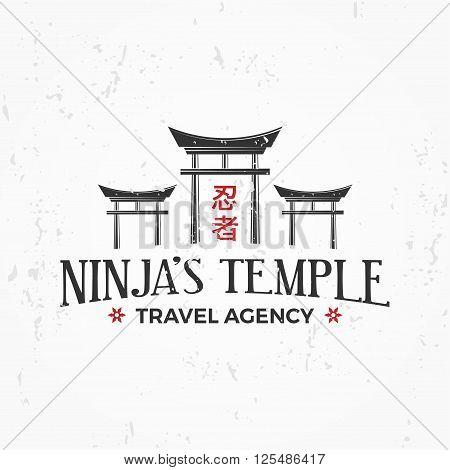 Vintage Japan temple Logo. Ninja insignia badge design. Martial art Team t-shirt illustration concept on grunge background.
