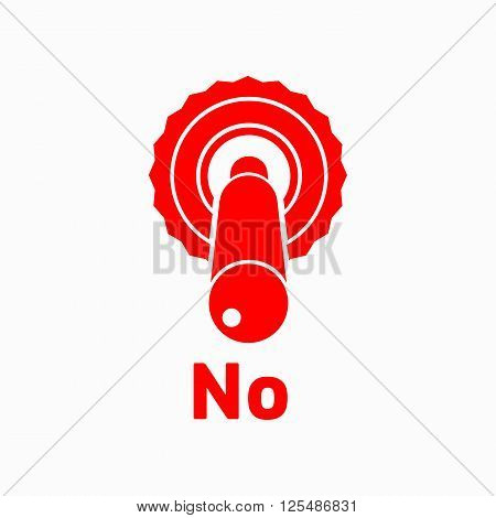 Toggle switch button in the disagree position icon in simple style on a white background