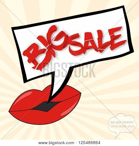 Big sale concept with lips comics bubble and destroyed text on sunburst background