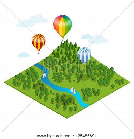 Hot air balloon over the forest, over the  mountains and clouds. Flat 3d vector isometric illustration hot air balloons.