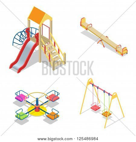 Playground. Playground slide theme elements. Isometric kids playground icons set. Flat 3d vector isometric high quality playground icon set.