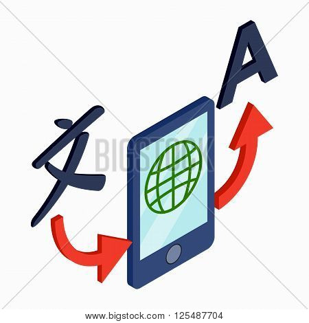 Translator smartphone icon in isometric 3d style on a white background