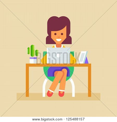 Young business woman or a secretary working at her office table with laptop. Vector illustration in flat design.