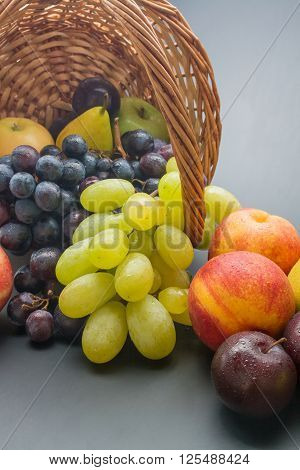 Various fresh ripe fruits close up: plums peaches pears apples and grapes scattered from a wicker basket on neutral background