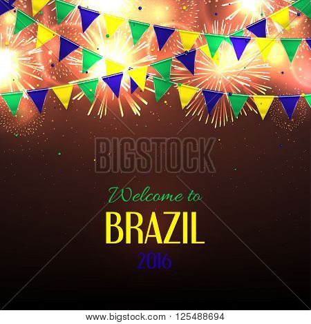 Banner with inscription Welcome to Brazil. Background with fireworks and with a garland from Brazil flag colors.