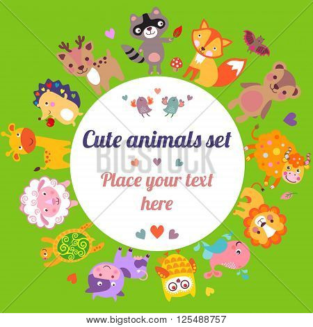 Cute animals walking around globe with text frame Save animals emblem animal planet animals world card gift