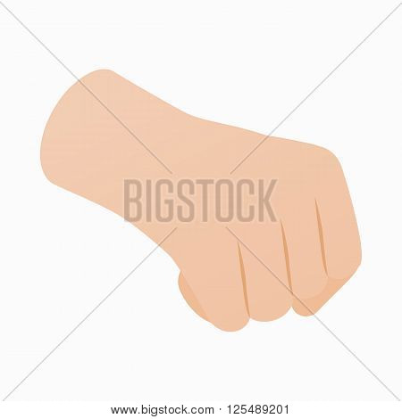 Hand with clenched fist icon in isometric 3d style on a white background