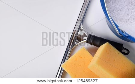 Window Cleaning Tools On White Table Top View