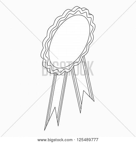 Rosette with ribbon icon in isometric 3d style on a white background