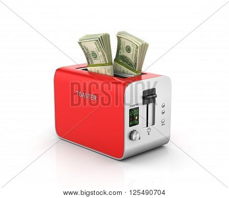 Concept of money. Financial business concept. Stack of money in the red modern toaster. 3d illustration