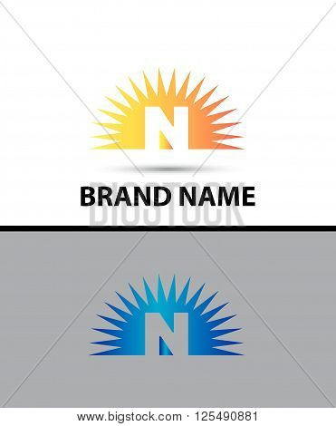 Abstract icons of letter N and Sun Logo