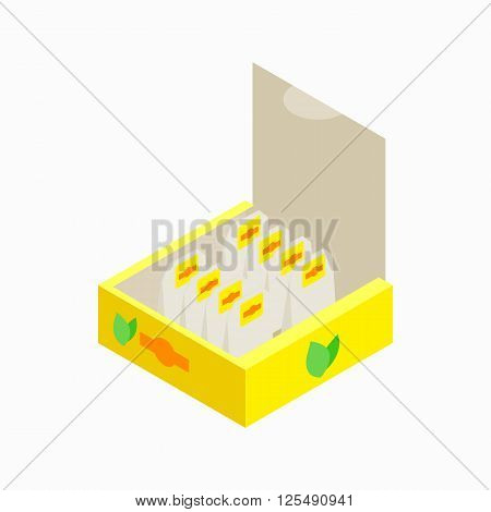 Teabags in yellow paper box icon in isometric 3d style on a white background