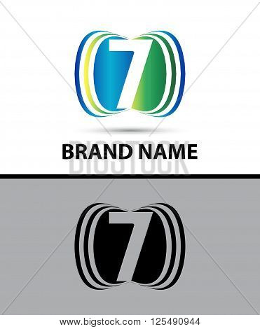 Number seven 7 logo icon.Vector illustration template