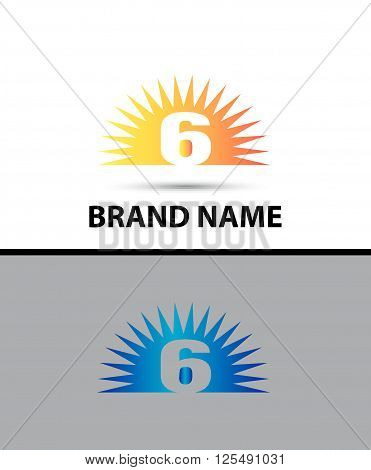 Number six 6 logo design icon template abstract