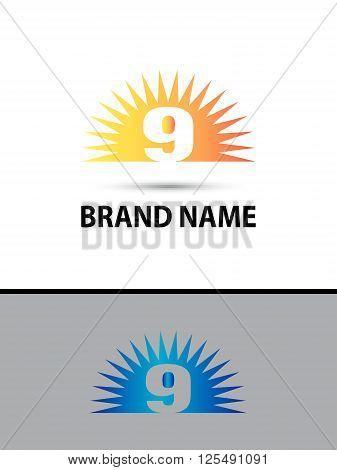 Number nine 9 logo design icon template