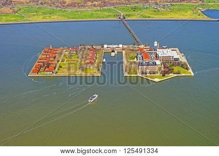 Aerial view from helicopter on Ellis Island USA in Upper New York Bay