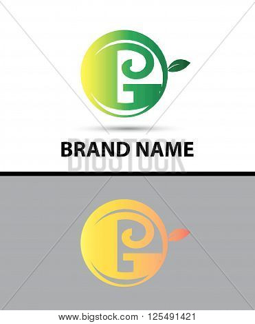 Leaf icon Logo Letter G design template abstract