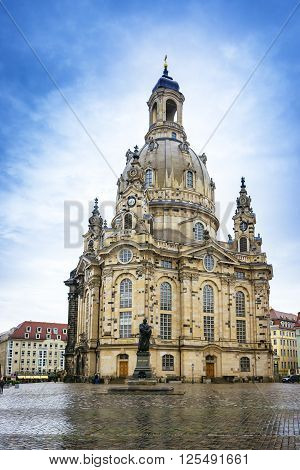 Frauenkirche in the center of Dresden in Saxony state of Germany. The church is a Lutheran one.