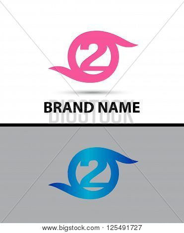 Vector sign spherical number 2 design template