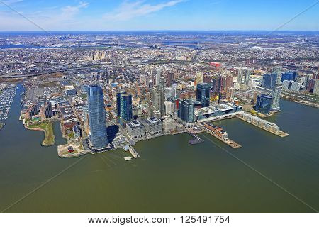 Helicopter view on New Jersey skyline USA from Hudson River.