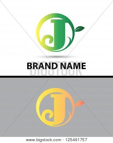 Leaf icon Logo Letter J design template abstract