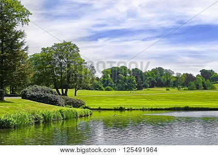 Pond and park near Leeds Castle in Kent in England.