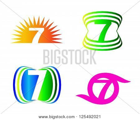 Number seven 7 logo icon template abstract