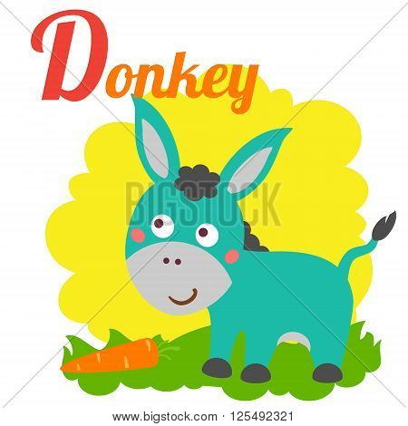 Cute animal alphabet for ABC book. Vector illustration of cartoon donkey. D letter for the Donkey