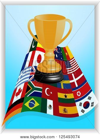 Blue Panel and White Frame with 3D World Flags and Gold Trophy Over It