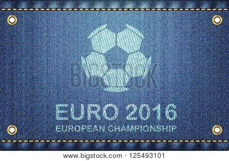 Soccer ball on blue jeans background. Euro 2016 football championship text and soccer ball on blue denim as a cool vector illustration.