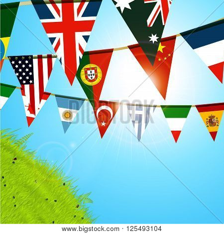 Bunting Flags Over Sunny Blue Sky and Green Hill with Lens Flares