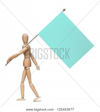 The wooden lay figure marches with a flag on an iron spike  isolated on the white background. With shadow.