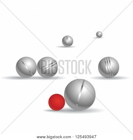 Petanque game balls on white background. Bocce shading spheres with shadows. Play time. Parlour game for leisure time. Fork perspective, horizontal composition. Isolated master vector illustration.