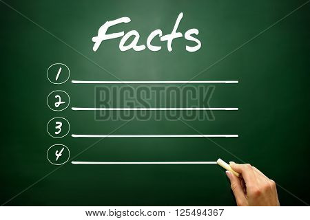 Hand Drawn Facts Blank List, Business Concept On Blackboard..