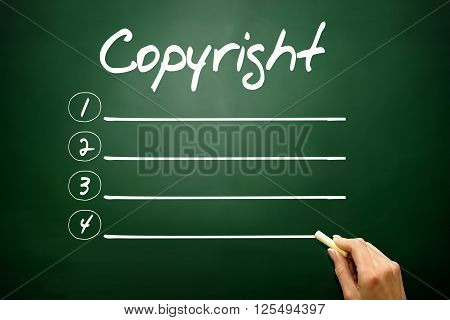 Hand Drawn Copyright Blank List, Business Concept On Blackboard..