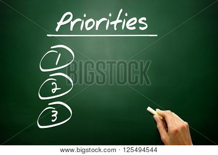Hand Drawn Priorities Blank List, Business Concept On Blackboard..