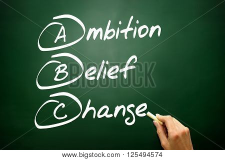Hand Drawn Ambition Belief Change (abc), Business Concept On Blackboard..