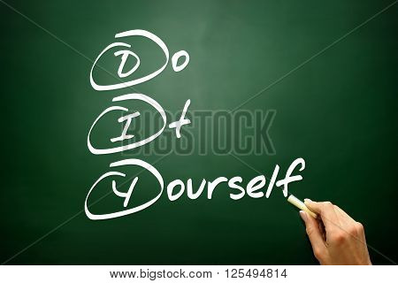 Hand Drawn Do It Yourself (diy), Business Concept Acronym On Blackboard..