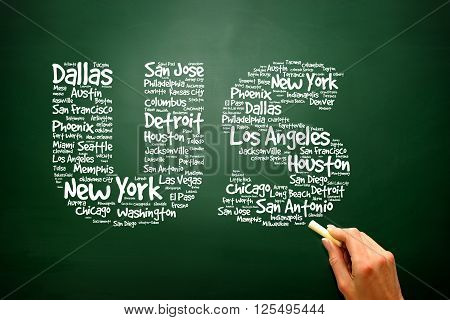 US letters with cities names words cloud on blackboard presentation background